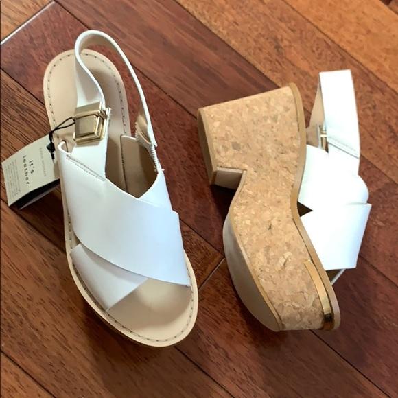🆕 ZARA | Leather Cork Platform Sandal Wedge